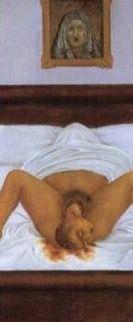 Frida Kahlo Suas obras muitas vezes remetiam a sua própria vida, essa é relacionada com os abortos espontâneos que Frida sofria.