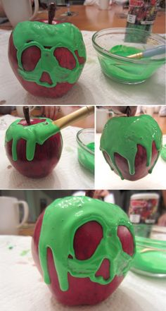 DIY Snow White poison apple (Made Halloween Disney Halloween, Holidays Halloween, Halloween Treats, Halloween Diy, Halloween Decorations, Halloween Tattoo, Apple Decorations, Halloween Foods, Halloween 2017