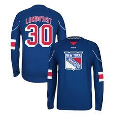 Mens New York Rangers Henrik Lundqvist Reebok Royal Blue Edge Long Sleeve Jersey T-Shirt