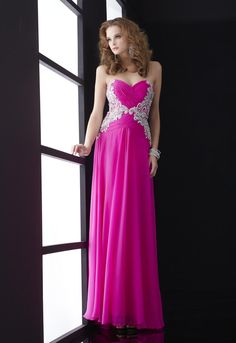 Sweetheart Full Length Chiffon Hot Pink Prom Dresses 2014 with Beading