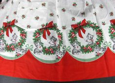 Christmas Apron with Kitty's Kittens Cat Holly Border Print
