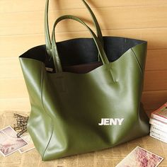 Green Leather Tote/ Shopping bag/ iPad Bag/ by LIANGJENYSTUDIO, $79.00