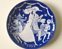 1983 Stig Lindberg Limited Edition plate // Gustavsberg Sweden Made in Sweden // Blue and white porcelain // illustration art Dinner plate