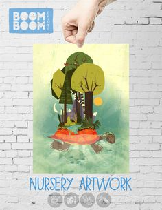 """Turtle Island"" nursery art print by BoomBoom Prints artist Cheryl Francis- I love her lion and bears print too!"