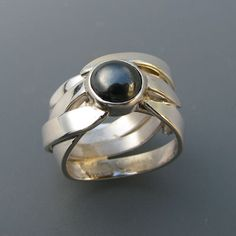 Zilveren ring met Hematiet Serie :Gras