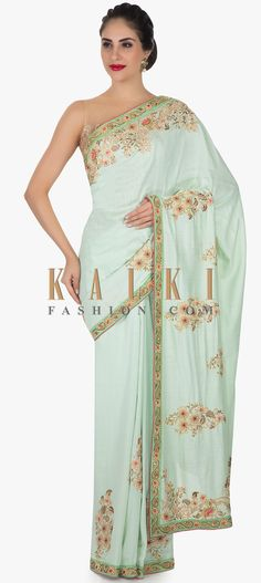 The sea green saree is featured in cotton silk fabric. It is embellished in zardosi and cut dana embroidery. It is teamed up with a pink blouse. Cotton Silk Fabric, Green Saree, Printed Sarees, Indian Designer Wear, Costumes For Women, Sari, Clothes For Women, Formal Dresses, Womens Fashion