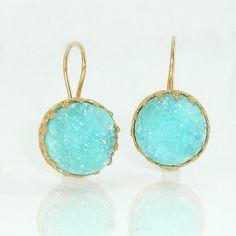 Druzy Earrings, Turquoise Druzy Drop Earrings, Gold Earrings, Agate Bezel  Sets, Turquoise Gemstones Dangle Earrings, Crown Lace Settings.
