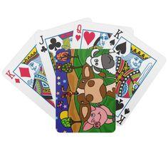 Cow, Pig, and Sheep Folk Art Design Card Decks #farm #animals #pig #cow #sheep #folkart #playingcards #funny #art #zazzle #petspower