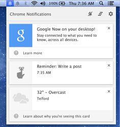 Google Now pentru OS X va afisa notificari desktop multumita unei noi versiuni beta a Google Chrome
