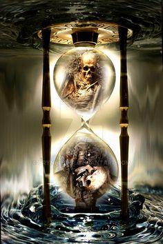 "Clock Hourglass Time: ""Skull by Brynhilder, at deviantART. Dark Artwork, Skull Artwork, Model Tattoo, Grim Reaper Art, Badass Skulls, Hourglass Tattoo, Totenkopf Tattoos, Rock Poster, Beautiful Dark Art"