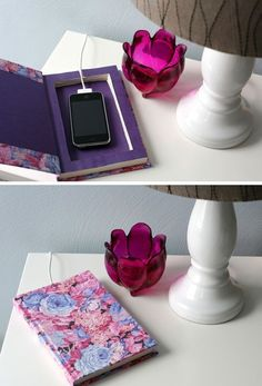 Upcycled book into a docking station  Create a clean and tidy space by hollowing out an old book, brushing modge podge on the outside of the pages (to keep them together) and then using it as a charging station.    What a great upcycling project for those who Love technology but hate the look of it!