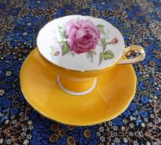 Aynsley Corset Cup And Saucer Goldenrod Rose Center 1940s Bone China Tea Party