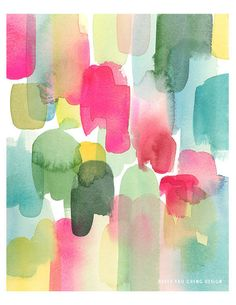 Abstract Marks in Magenta- Watercolor Art Print