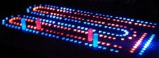 Oak Short 2 Rows Lighted Cribbage Board with Red & Blue LEDs SKU 11315