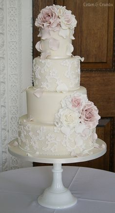 Delicate Lace wedding cake by Cotton and Crumbs, via Flickr