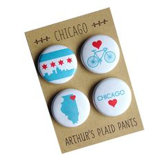 Chicago magnets, Chicago pins, Chicago magnet set, pinback button set