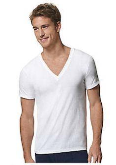 White, X-Large Tall Hanes Mens Red Label Closure 6-Pack V-Neck T-Shirts