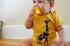Giraffe Inant Bodysuit- yellow