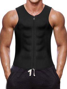 e4dfc1fc970 Men Waist Trainer Vest for Weightloss Hot Neoprene Corset Body Shaper  Zipper Sauna Tank Top Workout Shirt (L
