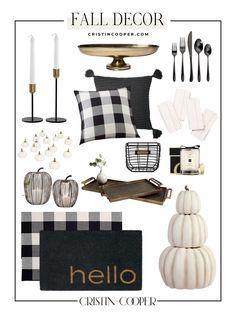 White Home Decor, Fall Home Decor, Black Decor, Autumn Home, Black And White Interior, White Interior Design, Fall Decorations, Seasonal Decor, Pottery Barn Fall