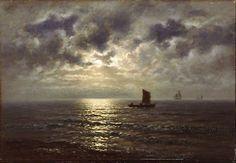 Barcos de pesca no mar, à luz de uma lua cheia. Óleo sobre tela. 1884. Wilhelm Ferdinand  Xylander (1840-1913). Encontra-se no Museu Skagens, em Skagen, Dinamarca.