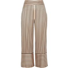 River Island Pink stripe wide leg culottes ($49) ❤ liked on Polyvore featuring pants, capris, trousers, bottoms, wide leg cropped pants, cropped capri pants, pink trousers, tall wide leg pants and striped trousers
