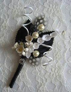 Vintage Style Black and White Boutonniere by ericacavanagh, $13.00