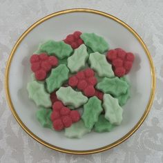 64 Mini Holly Leaf and Berry Shaped Sugar Cubes by Sugars by Sharon on Gourmly