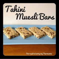 The road to loving my Thermomix: Lunchbox Prep: Tahini Muesli Bars Tahini Muesli Bars By: The road to loving my Thermomix tahini honey rolled oats rice bubbles sultanas sunflower seeds chia seeds flaxseed meal Lunch Box Recipes, Lunch Snacks, Snack Recipes, Lunchbox Ideas, Bar Recipes, Muesli Slice, Muesli Bars, Cake Pops, Healthy Sweet Treats