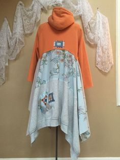 Upcycled hoodie Altered Couture Shabby Chic by SimplyCathrineAnn