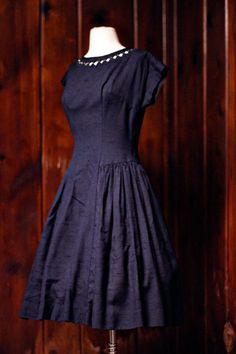 1950s dress : navy blue . rhinestone . cutout . S/M