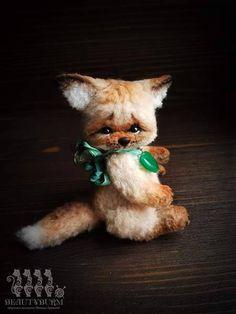 Baby fox Fluke-teddy fox-artist toy Amigurumi-Stuffed