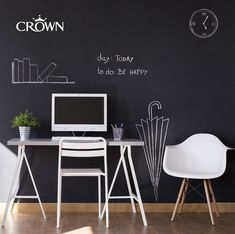 "For a modern backdrop for your office space, try a contemporary charcoal colour like 'Rebel"" and accessorise with white furniture for a sophisticated, urban look. Charcoal Colour, Urban Looks, White Furniture, Contemporary, Modern, Office Desk, Rebel, Backdrops, Space"