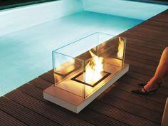 Radius Design 544 I Ethanolkamin Uni Flame Edelstahl matt und Weiß