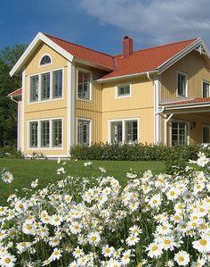 Vackra gula husfärger - Jotun e-magasin Pintura Exterior, Home Fashion, Scandinavian Style, Facade, Houses, Interiors, Mansions, House Styles, Google
