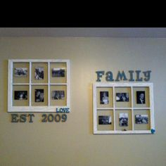 Crackle paint, old window picture frames. So easy to make with the simple ingredient of elmers glue.
