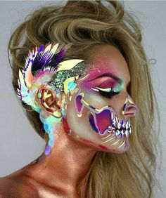Stunning Make Up – Halloween Make Up Ideas Skull Makeup, Sfx Makeup, Costume Makeup, Dark Makeup, Halloween Looks, Halloween Face Makeup, Halloween Costumes, Halloween Stuff, Halloween Ideas