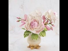 How to Create a Flower Paste Heirloom English Rose - YouTube