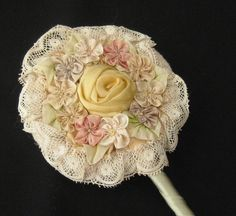 ANTIQUE POWDER PUFF ON WAND WITH SILK RIBBONWORK, POWDER PATTER