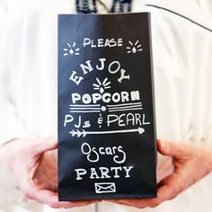 DIY these vintage popcorn bags for an Oscars viewing party