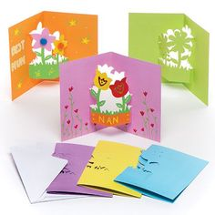 Buy Flower Pop-out Cards at Baker Ross. Decorate and personalise these flower pop-out cards. Mothers Day Crafts, Valentine Day Crafts, Crafts For Kids, Children Crafts, Valentines, Pop Out Cards, Scratch Art, Handmade Greetings, Child Love