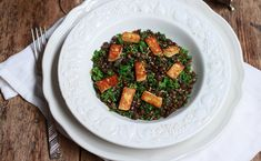 A fabulous way to show off the flavour of kale, ever so gently cooked, with lentils and halloumi.