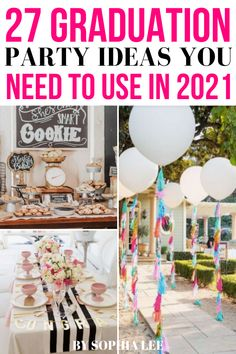 obsessed with these 2021 high school graduation party ideas!! so cute and unique Vintage Graduation Party, Outdoor Graduation Parties, Graduation Party Planning, Graduation Party Themes, Graduation Ideas, Grad Parties, School Centerpieces, Graduation Party Centerpieces, Graduation Decorations