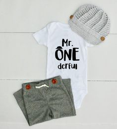 Mr One derful Bodysuit 1st Birthday Outfit for Boy