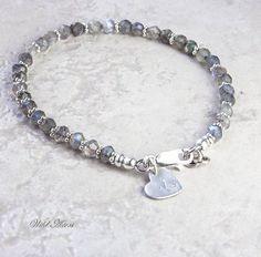 Labradorite Bracelet, Initial Stamped Sterling Silver Jewelry. Gemstone Jewelry. Choice of Charm