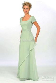 Wholesale Elegant beaded pale green short sleeves chiffon A-line formal bridesmaid mother of bridal dress, $40.32-47.11/Piece | DHgate
