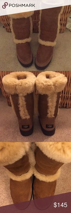 Shearling Lined UGGS 🍁Sure to keep you warm this season🍁 Wear them up or rolled down! These UGGS are in fantastic condition worn maybe 3-4x's !!! Cleaned & waterproofed w/suede block & sanitized. I will spray them again w/weather protection night before before shipping! They are a chestnut brown w/ heavy shearling! No wear pattern heels/bottoms. Please ask any questions! Only responding to. Offers using the offer button! Thank you 😃 I can post additional photos as well! UGG Shoes Winter…