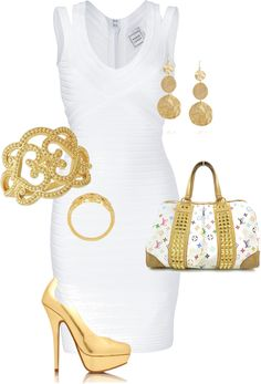 """white and gold"" by missyalexandra on Polyvore"