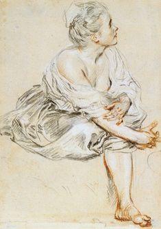 Antoine Watteau (1684-1721): A Seated Woman.