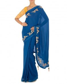 Monaco Blue Sari with Embroidered Yellow Blouse - by Madsam Tinzin - Designer Saris - #LuxeSteals - Indian Designs - Designer of India - Fashion Trends - Ethnic Designs of India - Indian Sari Style - Indian Embroidery - #Multicolor - Floral Trend - Indian Ethnic Fashion - Celebrity Style - Sarees of India - Indian Saree Designs